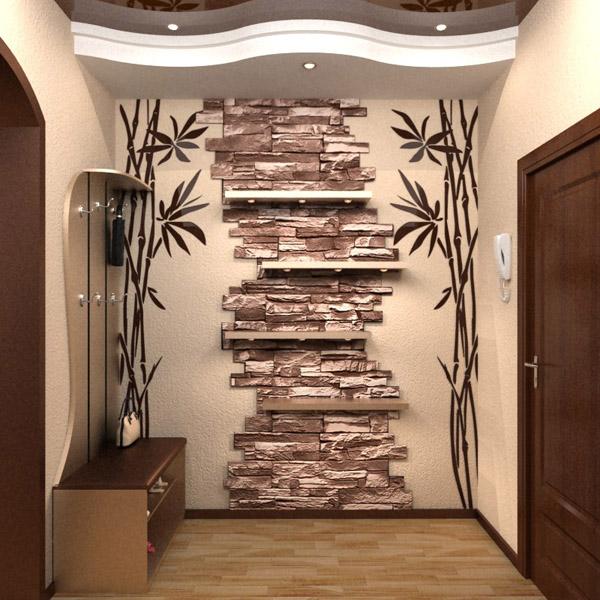 Оформление стен в интерьере прихожей