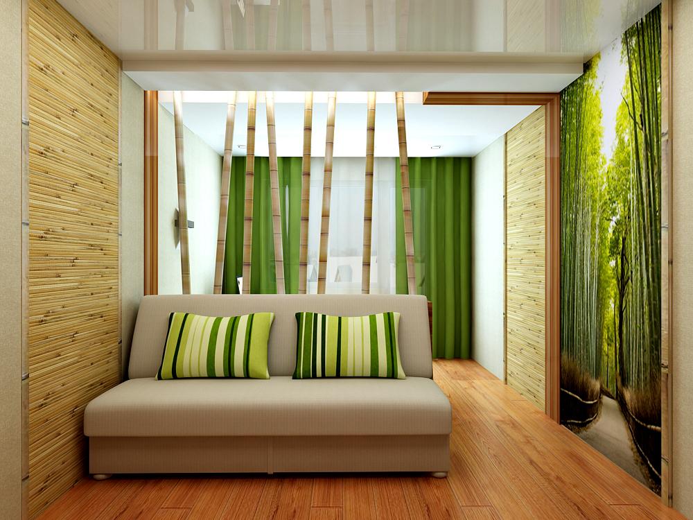 Бамбуковый дизайн комнаты